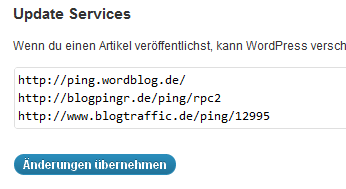 Blogger World Ping Liste